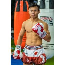 Yokkao Spodenki Muay-Thai Ronin Białe/Czerwone 1
