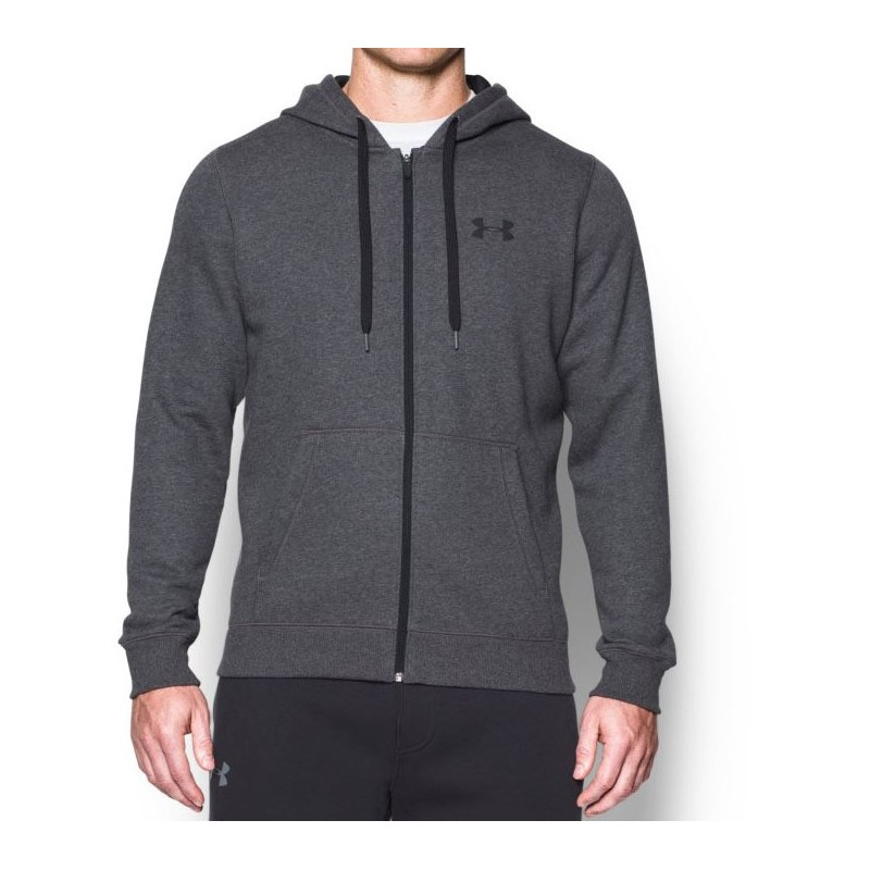 Under Armour Bluza z kapturem Rival Fitted Full Zip Grafitowa