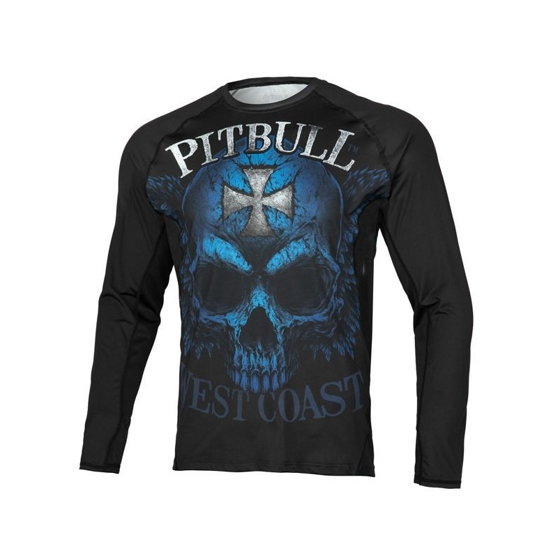 Pitbull Rashguard Mesh Performance Pro Plus Blue Skull Długi Rękaw