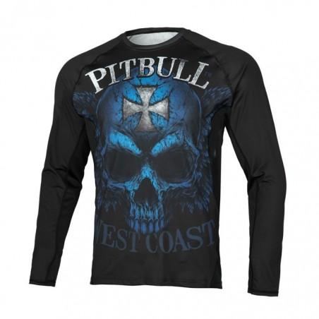 Pitbull Rashguard Mesh Performance Pro Plus Blue Skull Długi Rękaw 1