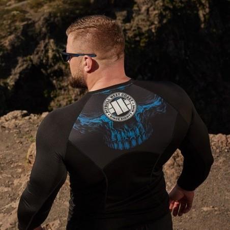 Pitbull Rashguard Mesh Performance Pro Plus Blue Skull Długi Rękaw 3