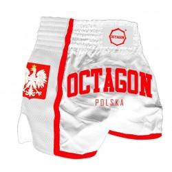 Octagon Spodenki Muay Thai Polska Białe 1